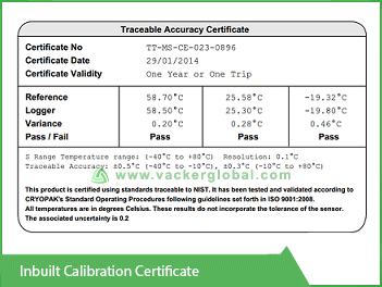 Inbuilt Calibration Certificate Vacker KSA